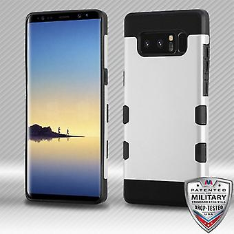 MYBAT Rubberized Space Silver/Black TUFF Trooper Hybrid Protector Cover para Galaxy Note 8
