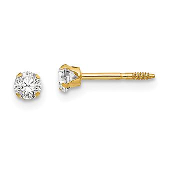 14k Yellow Gold Polished Post Earrings 3mm CZ Cubic Zirconia Simulated Diamond for boys or girls Earrings Measures 3x3mm