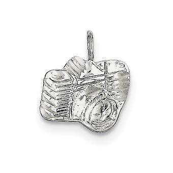 925 Sterling Silver Satin Textured back Sparkle-Cut Camera Charm - 1.2 Grams