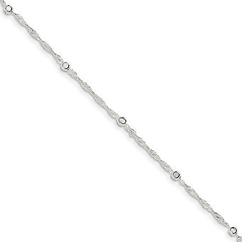 925 Sterling Silver Spring Ring With 1inch Ext. Anklet 10 Inch Jewelry Gifts for Women - 2.4 Grams