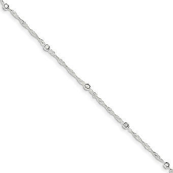 925 Sterling Silber Frühling Ring mit 1 Zoll Ext. Fußkettchen 10 Zoll Schmuck Geschenke für Frauen - 2,4 Gramm