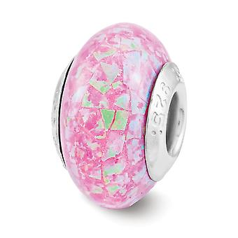 925 Sterling Silver Polished finish Reflections Pink Synthetic Simulated Opal Mosaic Bead Charm Pendant Necklace Jewelry