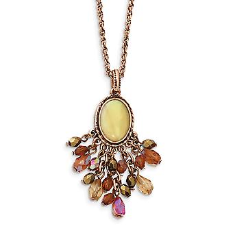 Fancy Lobster Closure Copper tone Multicolor Acrylic Beads and Simulated Mother of Pearl 16inch With Ext Necklace Jewelr