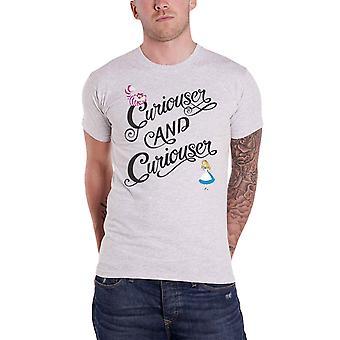 Alicia en el país de las maravillas camiseta Curiouser & Curiouser nuevo oficial hombres gris
