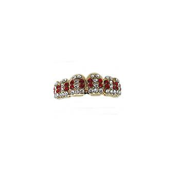 Grillz Guld Multi Ice 66 Points Of Cz Ruby N Clear Diamonds [top]