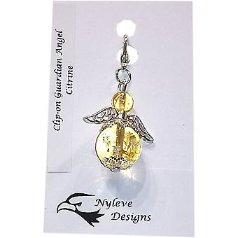 Handmade Clip-on Semi-precious Citrine Gemstone Guardian Angel in Silver Plated by Nyleve Designs