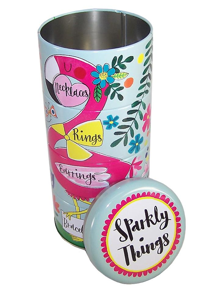 Childrens stacking flamingo sparkly things storage tins