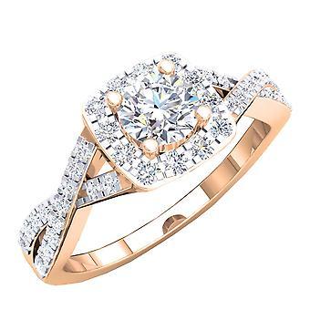 Dazzlingrock Collection 1.55 Carat (ctw) 10K Round Cubic Zirconia CZ Halo Engagement Ring 1 1/2 CT, Rose Gold