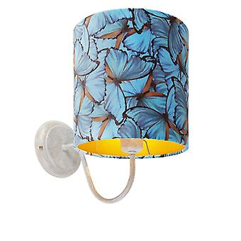QAZQA Classic wall lamp white with butterfly velor shade - Matt