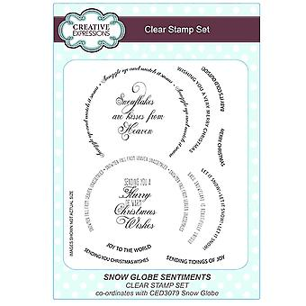 Expressions créatives A5 Clear Stamp Set - CEC773 Snow Globe Sentiments