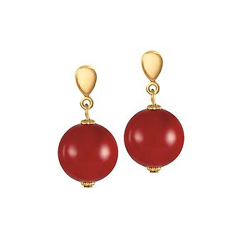 Eternal Collection Femme Fatale 14mm Red Shell Pearl Gold Tone Drop Screw Back Clip On Earrings