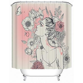 Floral Girl Pink And White Shower Curtain