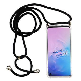 Catena di telefoni per Samsung Galaxy S10 - Custodia collana smartphone con banda - Cord con custodia per appendere in nero