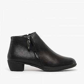 Comfort Plus Paislee Ladies Pu Ankle Boots Black