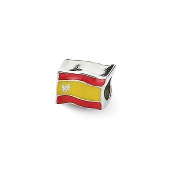 925 Sterling Silver Emalj polerad finish Reflektioner spanska Flag Bead Charm Hängande Halsband Smycken Gåvor för kvinnor