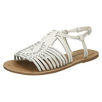 Damer läder kollektion Flat strappy sandaler F00159