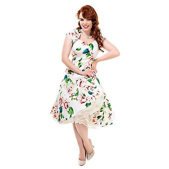 Collectif Vintage Women's 1950's White Floral Regina Doll Flared Dress