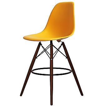 Charles Eames Style kirkkaan keltainen muovinen Baari jakkara-pähkinäpuu jalat