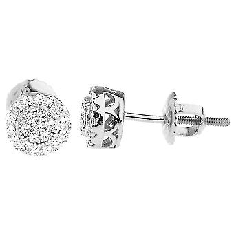 925 sterling silver bling cubic zirconia earrings - CLUSTER 6, 5mm