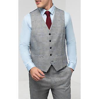 Dobell Mens Light Grey Waistcoat Regular Fit Prince Of Wales Check