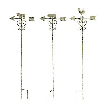 Rustic White Metal Farmhouse Pig Cow Rooster Weather Vane Garden Stake Set of 3