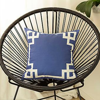 Nautical Blue and White Geometric Decorative Throw Pillow Cover