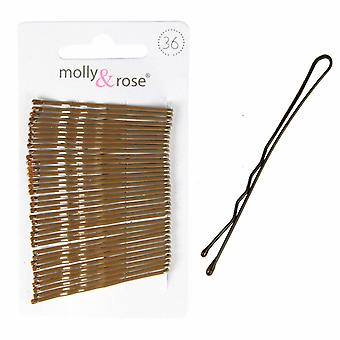 Molly & Rose braun Haargriffe 50mm 36 Pack x 3