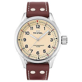 TW stål | Herre | Swiss Volante | Creme skive | Brun læderrem | SVS101 Watch