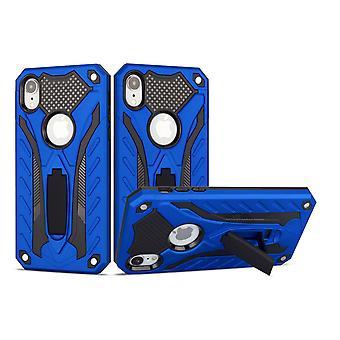 Für iPhone XR Case, Rüstung starke stoßfeste harte Abdeckung mit Kickstand, blau