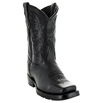الأطفال سوتو الأحذية الفتيات مربع عريض Toe جلد منتصف العجل سحب على الأحذية الغربية