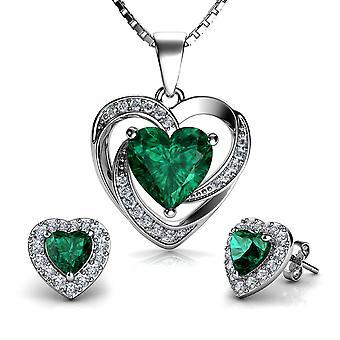 Dephini green jewellery set heart earrings & necklace sterling silver