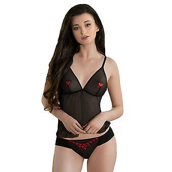 Roza Women's Rubii Black Heart Embroidered Panty Thong
