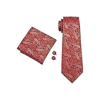 JSS Punainen & Gold Paisley Silkki kaula solmio, Pocket Square & Kalvosinnapit Set