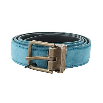 Dolce & Gabbana Blue Suede Leather Stiched Edge Gold Buckle Belt