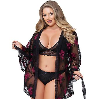 Womens Plus Size Embroidered Floral 3/4 Sleeve Lace Trim Robe Sleepwear