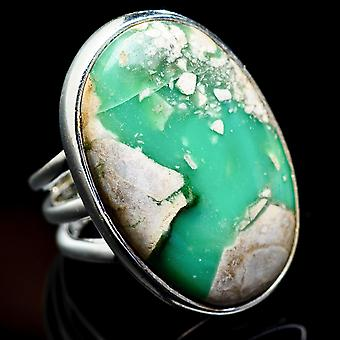 Large Variscite Ring Size 5.5 (925 Sterling Silver)  - Handmade Boho Vintage Jewelry RING3193