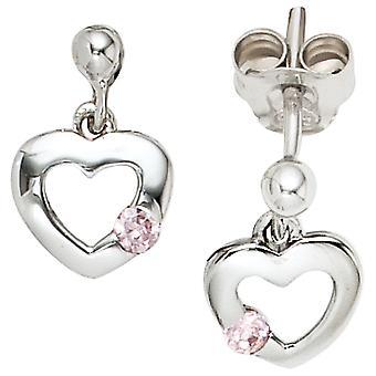 أقراط الأطفال قلب 925 الفضة 2 مكعب zirconia الوردي الوردي مسمار الأقراط