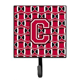 Letter C Football Crimson and White Leash or Key Holder