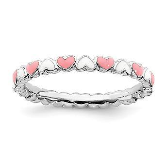 2,5 mm 925 Sterling Silber poliert rosa Emaille stapelbare Ausdrücke rosa und weiß Emaille Liebe Herz Ring Schmuck Geschenke