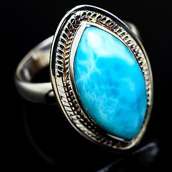 Larimar Ring Size 8.25 (925 Sterling Silver)  - Handmade Boho Vintage Jewelry RING7956