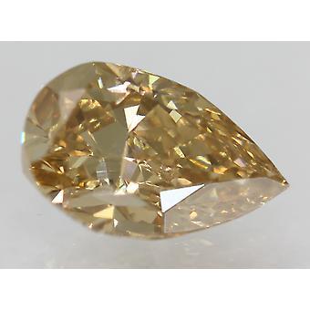 Cert 1.52 Carat Brown Yellow VVS2 Pear Natural Loose Diamond 9.21x5.85mm