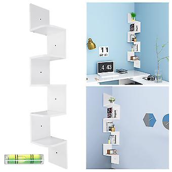 Yescom 5 Tiers Zig Zag Floating Wall Mount Corner Shelf Wooden Display Shelves Storage Organizer with Gradienter White