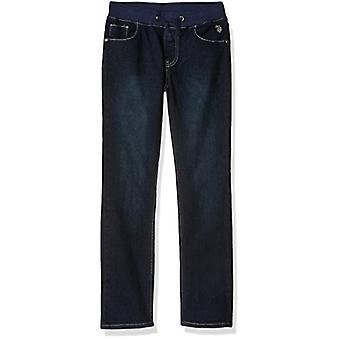 U.S. Polo Assn. Boys' Big Straight Leg Jean, Ribbed Dark Crinkle, 10/12