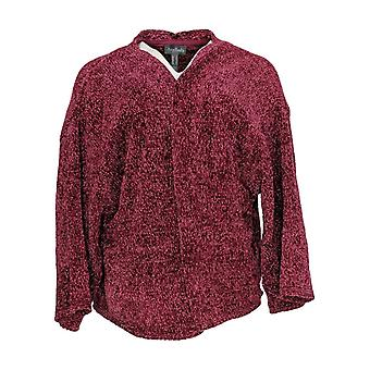 Anybody Women's Chenille Cropped Cardigan Burgundy Red A345313