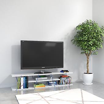 Mobil tv-dør Tjære Farve Hvid, Wood Blue, Metal 143x32x31 cm