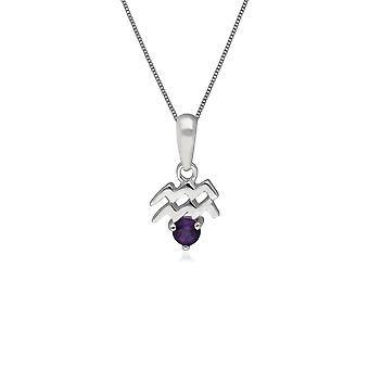 Amethyst Aquarius Zodiac Charm Necklace in 9ct White Gold 162P0232019