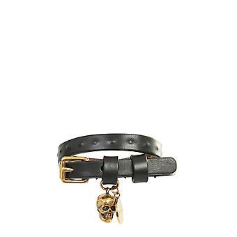Alexander Mcqueen 554466cqe3g1000 Men's Black Leather Bracelet