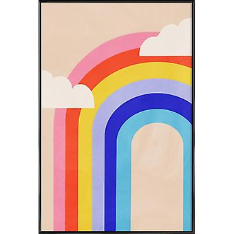 JUNIQE Print - Rainbow and Clouds - Nursery & Art for Kids Poster in Colorful