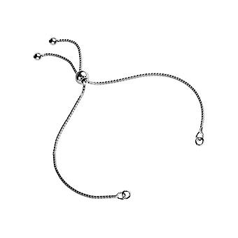Sterling Silver Adjustable Ball Clasp And Box Chain Bracelet Component