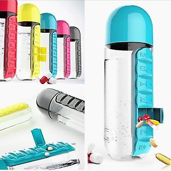 600ml Portable Sports Plastic Water Bottle - Combine Daily Pill Box Organizer Leak Proof Tumbler